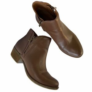 LUCKY BRAND Brenon Double Zip Brown Ankle Booties